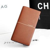 2014 High Quality Fashion Business Men's Zipper Wallet Brand men Leather Wallet Card Holder Large Long Design Purse