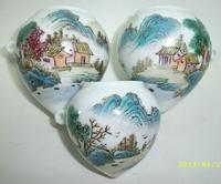 ES039 Jingdezhen China ceramic bird feeder cup, heart shape,Caishanshui design,3Pcs one sets