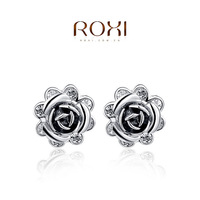 selling jewelry earrings wholesale trade of high-grade fine fashion jewelry platinum black small flower earrings , two cheaper