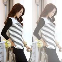 2014 New plus size casual t shirt women women clothing striped women t-shirt O neck M/L/XL/XXL Free Shipping 215
