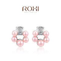 Beautiful gift wholesale Austrian crystal earrings selling jewelry pearl earrings platinum five , two cheaper