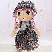 Pastoral hat Phyl Denim Blue Plaid Girl  Plush Doll Toy Free shipping