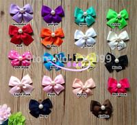6.5cm Grosgrain Ribbon Bow with Beads Center DIY accessories Mix Color 60pcs/Lot
