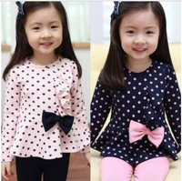 girls clothing sets spring autumn children costumes clothes,kids wear outfits Bow/bowknot long-sleeve stripe suit