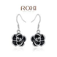 Beautiful gift wholesale Austrian crystal earrings selling jewelry platinum black rose earrings, two cheaper