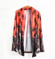 4Color XXXL-8XL Boutique Women Print Cardigan Plus Size Elegant Office Lady Ethnic Tunic Large XXXXL XXXXXXL 2014 Autumn Fall
