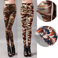 2014 South Korea fashion brand spring Lady Pu military camouflage pants women High elastic nine minutes of pants female leggings