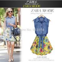 (BR-619)2014 new fashion women chiffon dress high quality stitching Slim  vest print chiffon denim dress
