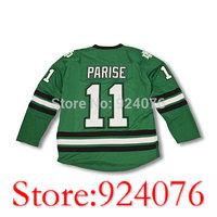 University North Dakota Zach Parise #11 Sioux Jersey Green White - Customized Any Name Number (XXS-6XL)