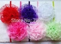 10cm Lace Hair Bow with thin Headband Baby Headband Mix Color 50pcs/Lot