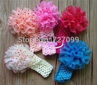 5 inch Chiffon Flower with Crochet Headband  Baby Kuffi Headband Mix Color 40pcs/Lot