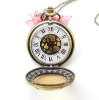 Free shipping wholesale hot sale bronze vintage skeleton roma fashion women quartz pocket fob watches