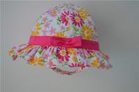 100% cotton kid's bucket hat with sun flower printing cute fishmen cap for kids