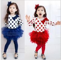 Baby girls Kids Set long-sleeved shirt+ pants Culottes suit Sweet girls clothings  piece suit pants set