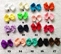 Newest 3 inch Grosgrain Ribbon Hair Bow Basic Girls Bow Boutique Bow Mix Color 60pcs/Lot