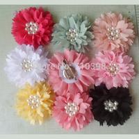 Fashion Women Lady Fabric Beauty Chiffon Pink Peony Flower Hair Clips , Dress Brooch Pin,