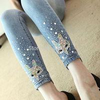 Women's Diamond Rhinestones Jeans Female Winter All-match Slim Skinny Pants Light Color Plus size Pencil Pants 2014 New Brand