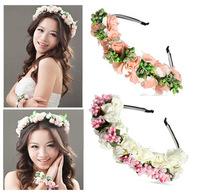2 pcs/lot Free Shipping Flower Garland Floral Bridal Headband Hairband Wedding Prom Hair Accessories