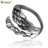 Bahamut 925 Silver Angel Devil Tail Ring Men Women Jewelry Open Ring Free shipping