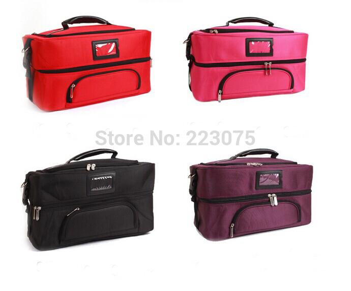 High quality big Nylon Makeup box Train Bag Handbag large make up Case w/ Removable Tray Cosmetic Jewelry 4 colors(China (Mainland))