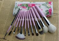 Wholesale New Design Good Professional Goat Hair Makeup Brush Sets12pcs/set Purple Cosmetic Makeu-up  Brushes Tool +Track NO.