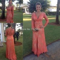 2014 New Design Vestidos De Fiesta Robe De Soiree Lace Beading Long Sleeves Evening Dress Women Gown Free Shipping WL233
