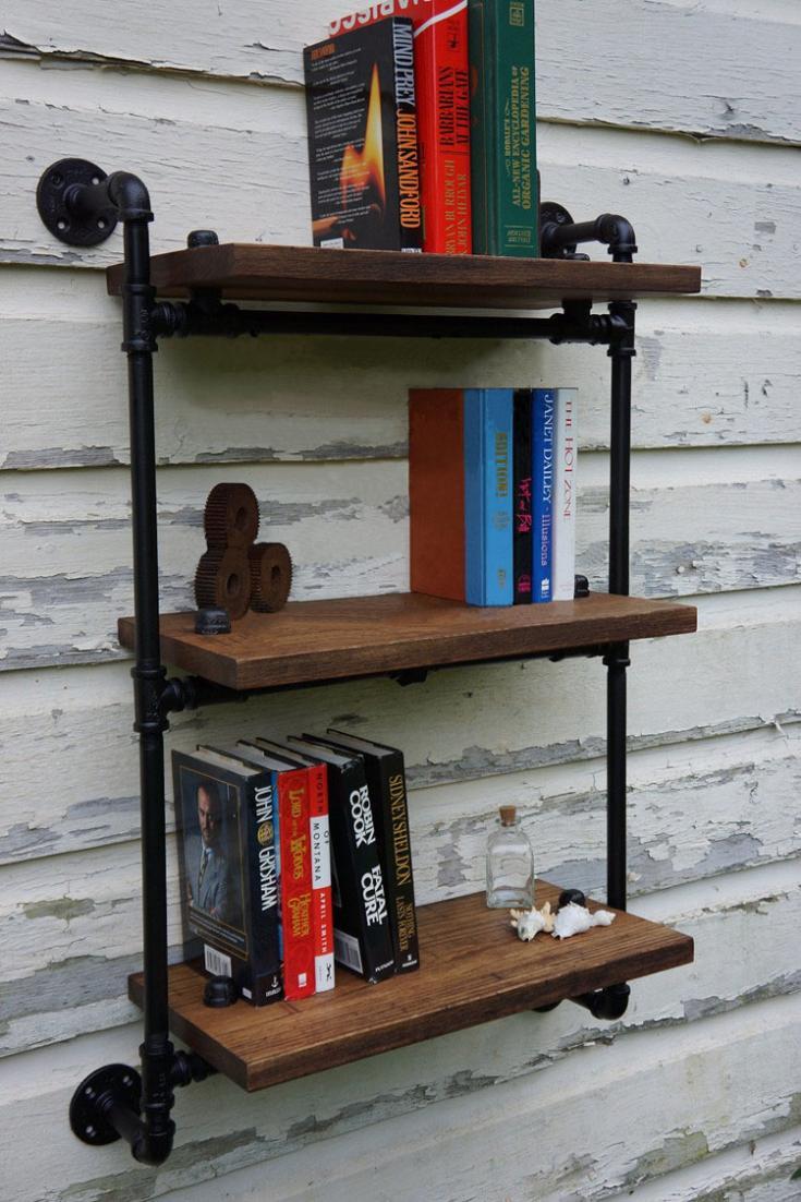 Retro industrial pipes Continental Shelf bulkhead storage shelves wood ...