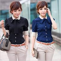 Promotion!!! 2014 new hot trendy women plus size Career shirt Korean  femininas Slim blusas with tie S-2XL NY007
