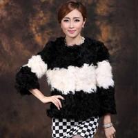 2014 Winter New Women's Fashion Fur Coat Big Striped Round Neck Lamb Fur Coat M L XL XXL D312C , EMS Free Shipping