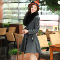 2014 new women's fashionable slim all-match long sleeved coat color in with a fur collar