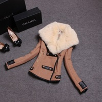 's autumn and winter new Korean temperament self-cultivation fashion big rabbit hair collar all-match woolen suit female