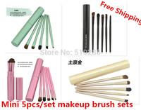New Design Good Professional Makeup Sets 5pcs/set Eyeliner Eyeshadow Eyebrow Mini portable Cosmetic Brushes Tool With Cylinder