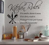 Black vinyl matte Kitchen rules wall art stickers free shipping
