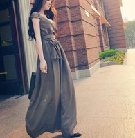 New 2014 Fashion women vestido chiffon side split shirt beach dress Ladies elegant maxi long sexy Evening party dresses
