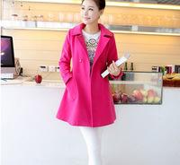 Clothes for Pregnant Women Casual Dress 2014 Winter New Korean Women's Dress Loose Casual Thin Cloak Coat Woolen Cloth Coat,