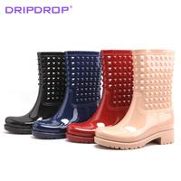New Arrival ! Freeshipping! Knee-high rain boots fashion rivet martin rainboots rivets water shoes female