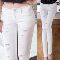 2014 Skinny Jeans Woman Hole capris Pencil Pants white denim Trousers women's jeans Slim was thin jeans pants