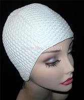 Ladies Bubble Swimming Hat Swim Bathing Cap White Fashy