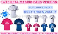 2015 real madrid best thai quality soccer jersey, free CUSTOMIZE ronaldo bale james casillas navas kroos, white/pink/blue color