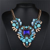 New Fashion Brand luxury Crystal Necklaces & Pendants Waterdrop Resin Vintage choker statement necklace women jewelry designer
