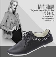 2014 Women casual flat heel shoes,single shoes for women,soft  high quality PU shoes,Rhinestone women shoes,3 colors  hot sale