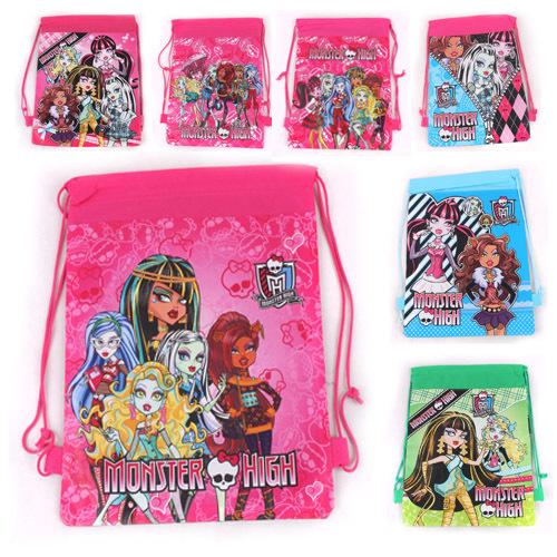 1Pcs Child MONSTER HIGH Kids Children Cartoon Printing Drawstring Non-woven Backpack School Bags baby shoulder mochila(China (Mainland))