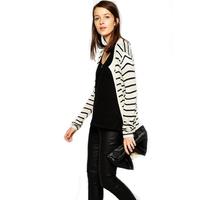 Free shipping!2014 autumn Street fashion black and white stripe loose sweater Large bf cardigan sweater 6 size xs-xxl