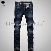 28-36#KPDSQ589,2014 Fashion Famous Brand D2 Jeans Men,High Quality Ripped Jeans For Men,Dark Color Cotton Denim True Jeans Men