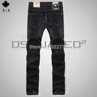 28-36#KPDSQ759,2014 Fashion Famous Brand D2 Jeans Men,High Quality Ripped Jeans For Men,Dark Color Cotton Denim True Jeans Men