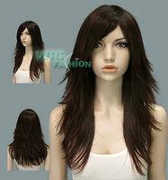women's Girls Long Layered Dark Brown Hair Wig Natural Kanekalon no Lace Front hair wigs Free deliver