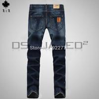 28-36#KPDSQ789,2014 Fashion Famous Brand D2 Jeans Men,High Quality Ripped Jeans For Men,Dark Color Cotton Denim True Jeans Men