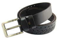 2014 men fashion casual first layer of cowhide weave belt  pin buckle men all-match Black strap belts