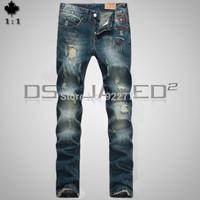 28-36#KPDSQ568,2014 Fashion Famous Brand D2 Jeans Men,High Quality Ripped Jeans For Men,Dark Color Cotton Denim True Jeans Men