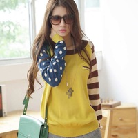 Quality! hot sale!  autumn and winter new arrival women's navy style autumn winter Stripe Polka Dot   loose big yards sweater